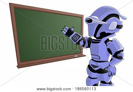 Humanoid Robot Teacher with a Blackboard. Futuristic Concept Illustration Vector.