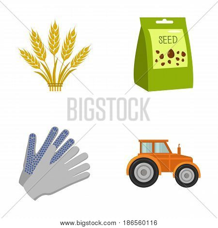 Spikelets of wheat, a packet of seeds, a tractor, gloves.Farm set collection icons in cartoon style vector symbol stock illustration .