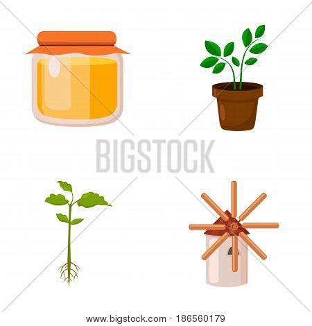 Honey bank, plant, mill.Farm set collection icons in cartoon style vector symbol stock illustration .