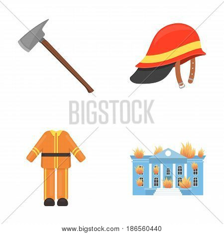 Ax, helmet, uniform, burning building. Fire departmentset set collection icons in cartoon style vector symbol stock illustration .