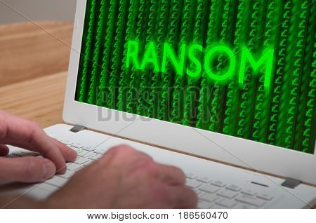 Hacked Computer With Ransomware Virus On Network