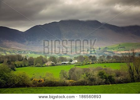 Farm and fields in the rural Irish landscape, Kerry county, Ireland