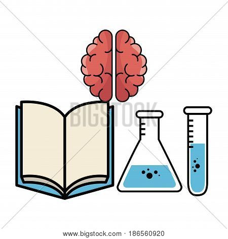 Opened book, brain, erlenmeyer flask and test tube over white background. Vector illustration.