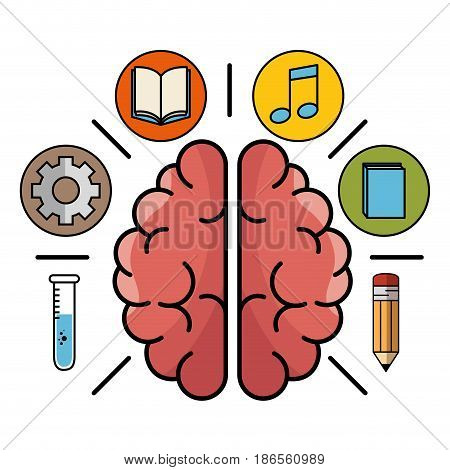 Brain surrounded by test tube, gear wheel, opened and closed books, beam notes and pencil icons over white background. Vector illustration.