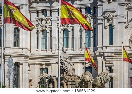 Cibeles statue Madrid fountain in Paseo de Castellana at Spain