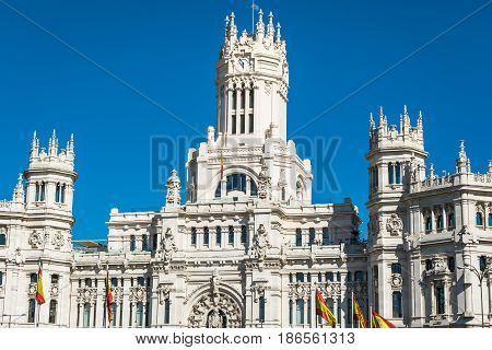 Plaza de la Cibeles Cybele's Square - Central Post Office Palacio de Comunicaciones Madrid Spain.