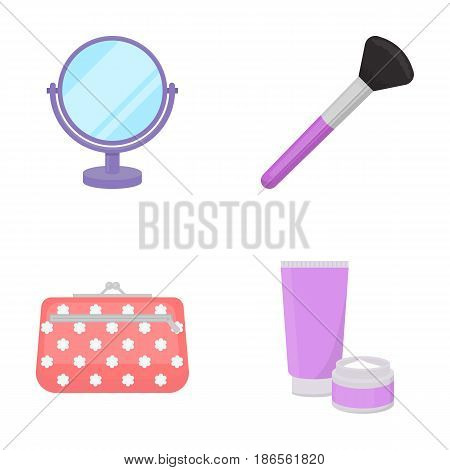 Table mirror, cosmetic bag, face brush, body cream.Makeup set collection icons in cartoon style vector symbol stock illustration .