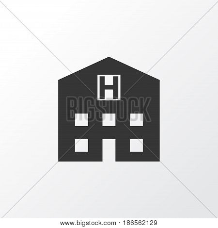 Hospital Icon Symbol. Premium Quality Isolated Retreat Element In Trendy Style.