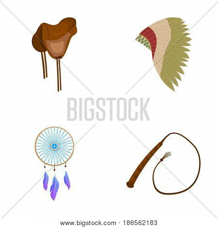 Saddle, Indian mohawk, whip, dream catcher.Wild west set collection icons in cartoon style vector symbol stock illustration .