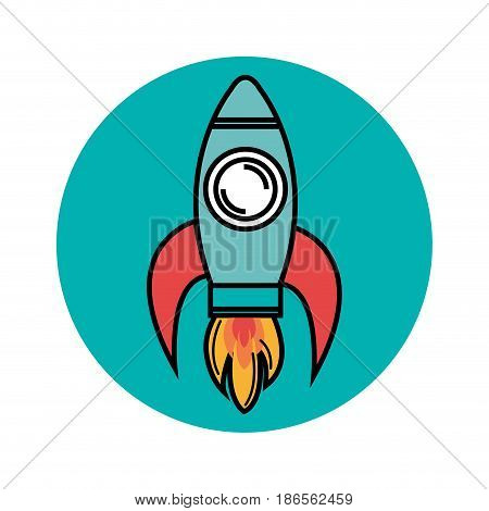 Colorful skyrocket icon over teal and white background. Vector illustration.