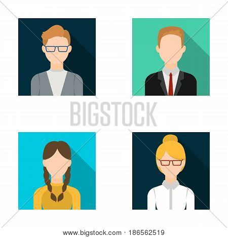 Girl with pigtails, businessman, businesswoman, boy wearing glasses.Avatar set collection icons in flat style vector symbol stock illustration .