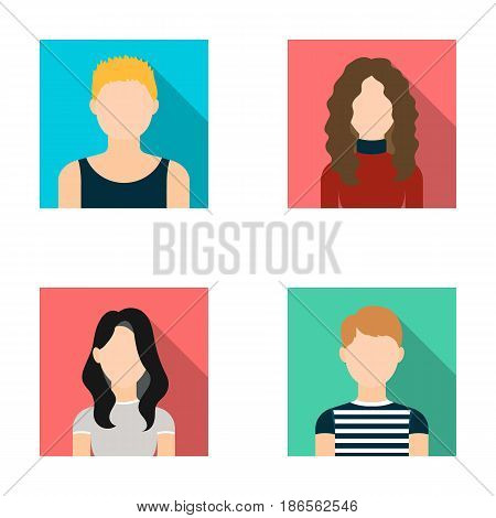 A dark girl, a redheaded boy, a curly-haired woman. A teenage blond.Avatar set collection icons in flat style vector symbol stock illustration .