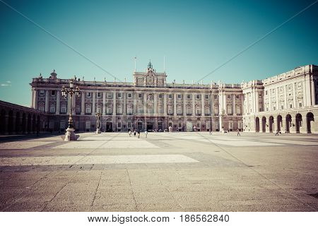 The Royal Palace of Madrid (Palacio Real de Madrid) official residence of the Spanish Royal Family at the city of Madrid Spain.