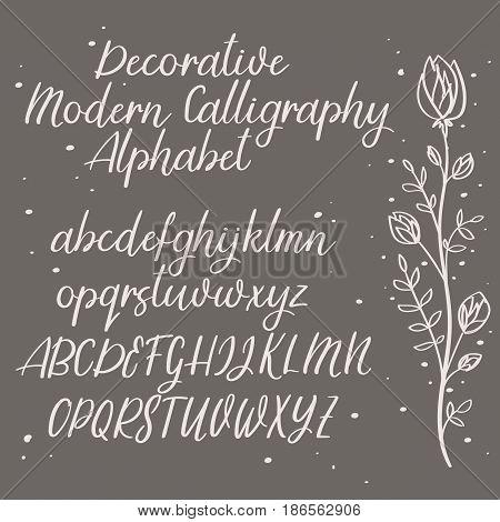 Handwritten Vector Font. Hand Drawn Brush Style Alphabet. Modern Calligraphy