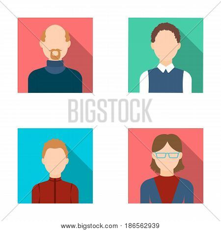 A woman in glasses. A blond teenager, a young man, a bald man with a beard.Avatar set collection icons in flat style vector symbol stock illustration .