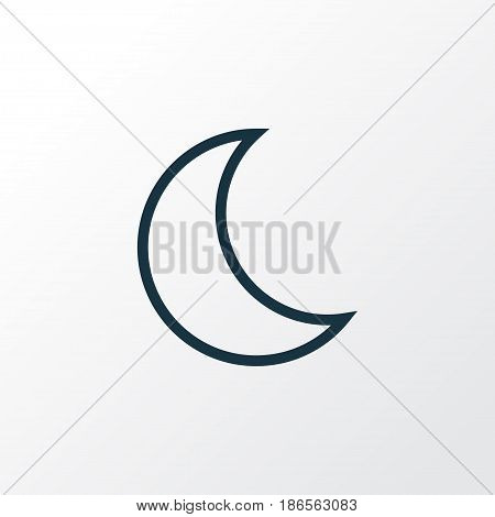 Nigth Outline Symbol. Premium Quality Isolated Moon Element In Trendy Style.
