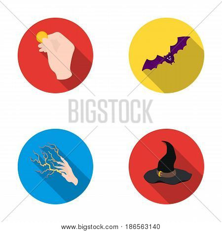 Focus with a coin, a bat, a mage's hat, a lightning-fast spell.Black and white magic set collection icons in flat style vector symbol stock illustration .