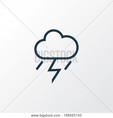 Thunderstorm Outline Symbol. Premium Quality Isolated Lightning Element In Trendy Style.