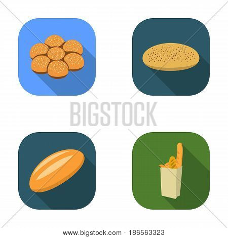 A package with bread, a pizza batch, a loaf, a bun.Bread set collection icons in flat style vector symbol stock illustration .