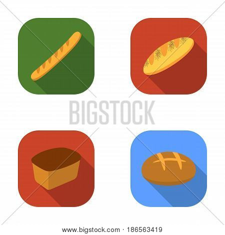 Rye bread, French loaf, round, cut loaf.Bread set collection icons in flat style vector symbol stock illustration .