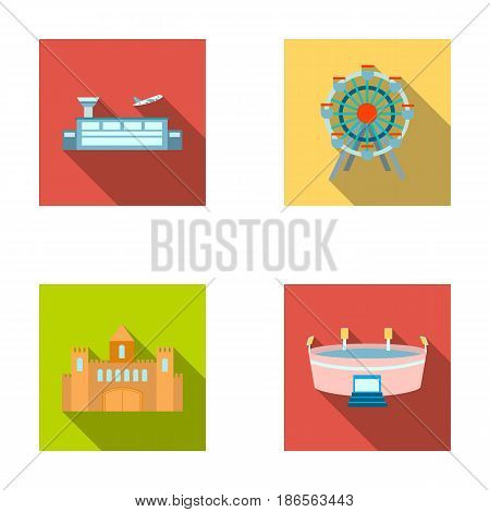 Airport, ferris wheel, stadium, castle.Building set collection icons in flat style vector symbol stock illustration .