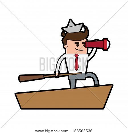 cartoon businessman with origami ship on head telescope and boat captain icon image vector illustration design