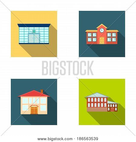 Residential building, bank, school, hotel.Building set collection icons in flat style vector symbol stock illustration .