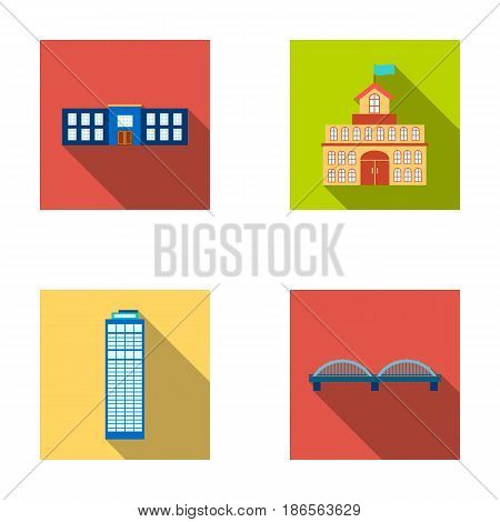 Skyscraper, police, bridge, government house.Building set collection icons in flat style vector symbol stock illustration .