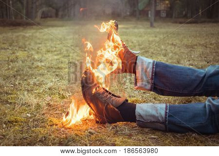 Burning Shoes. Abstract Composition Of  Burning Shoes