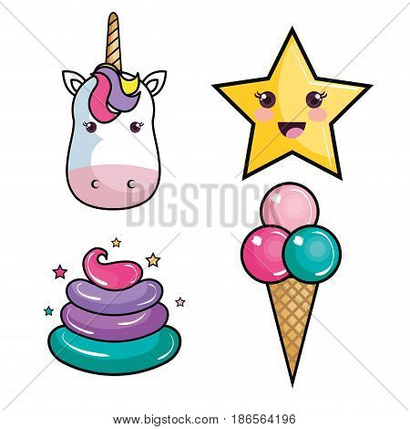 Unicorn, kawaii star, colorful whipped cream and ice cream over white background. Vector illustration