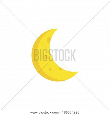 Crescent Flat Icon Symbol. Premium Quality Isolated Moon Element In Trendy Style.