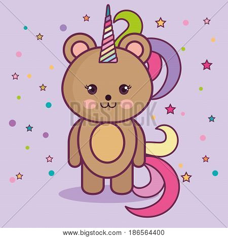 Kawaii bear with colorful horn over purple background. Vector illustration.