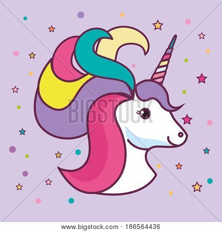 Cute unicorn head with colorful mane and horn over purple background. Vector illustration.