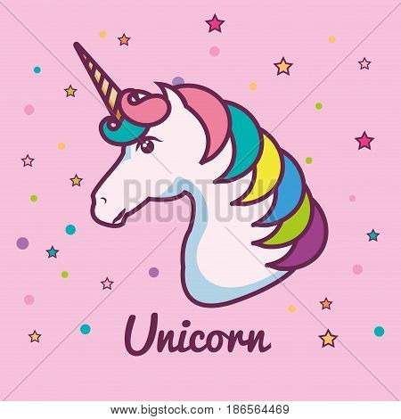 Cute unicorn head with colorful mane and horn over pink background. Vector illustration.