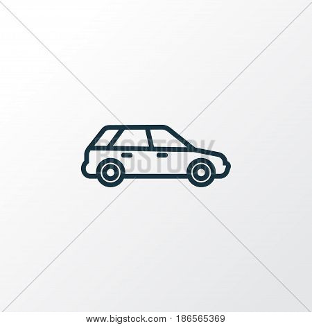 Station Wagon Outline Symbol. Premium Quality Isolated Hatchback Element In Trendy Style.