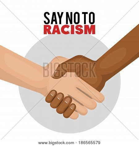 Afro american and caucasian people holding hands and say no to racism sign over white background. Vector illustration.