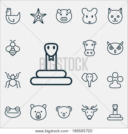 Animal Icons Set. Collection Of Piglet, Claw Print, Spider And Other Elements. Also Includes Symbols Such As Owl, Frog, Deer.