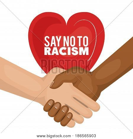 Afro american and caucasian people holding hands and say no to racism heart-shaped sign over white background. Vector illustration.