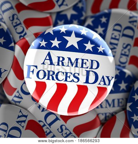 Armed forces day button background - 3d render