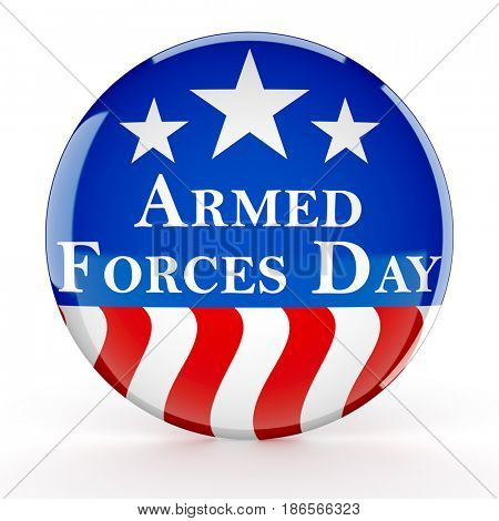Armed forces day button - 3d render