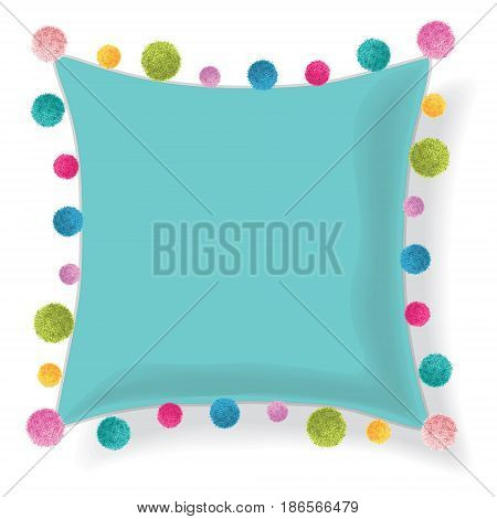 Vector Blue Pillow Decorated With Colorful Decorative Pompoms. Editable Template Design. Home decor design.