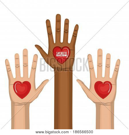 Afro american and caucasian people raised hands and say no to racism heart-shaped sign over white background. Vector illustration.