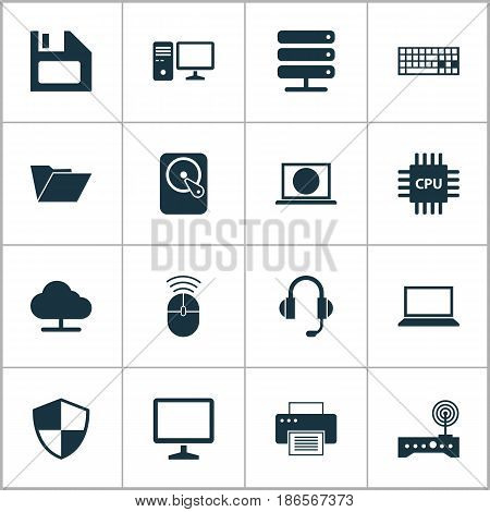Laptop Icons Set. Collection Of Tree, Dossier, Database And Other Elements. Also Includes Symbols Such As Keyboard, Personal, Screen.