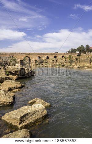 View over Oum Errabia river bridge to Kasba Tadla city in Béni-Mellal Province Tadla-Azilal Morocco.