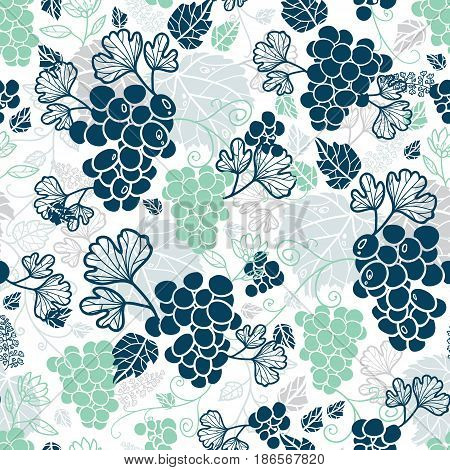 Vector Blue and Mint Green Grapevines Fruit Repeat Seamless Pattern Background. Can Be Used For Winde Tasting stationery, Wine bottles, Fabric, Wallpaper, Invitations, Packaging. Surface pattern design.