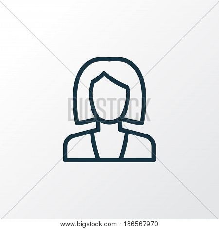Businesswoman Outline Symbol. Premium Quality Isolated Business Element In Trendy Style.