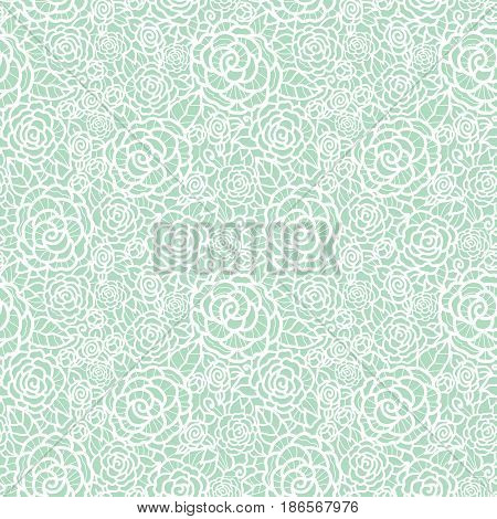 Vector gentle pastel mint green lace roses seamless repeat pattern background. Great for wedding or bridal shower decor, invitations, gifts. Surface pattern design.