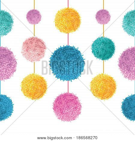 Vector Colorful Birthday Party Pom Poms On Strings Set Horizontal Seamless Repeat Border Pattern. Great for handmade cards, invitations, wallpaper, packaging, nursery designs. Surface pattern design.