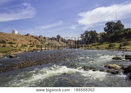 Panoramic view over Oum Errabia river and Kasba Tadla fortress in Béni-Mellal Province Tadla-Azilal Morocco.