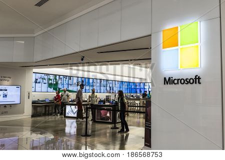 Cincinnati - Circa May 2017: Microsoft Retail Technology Store. Microsoft develops and manufactures Windows and Surface software V